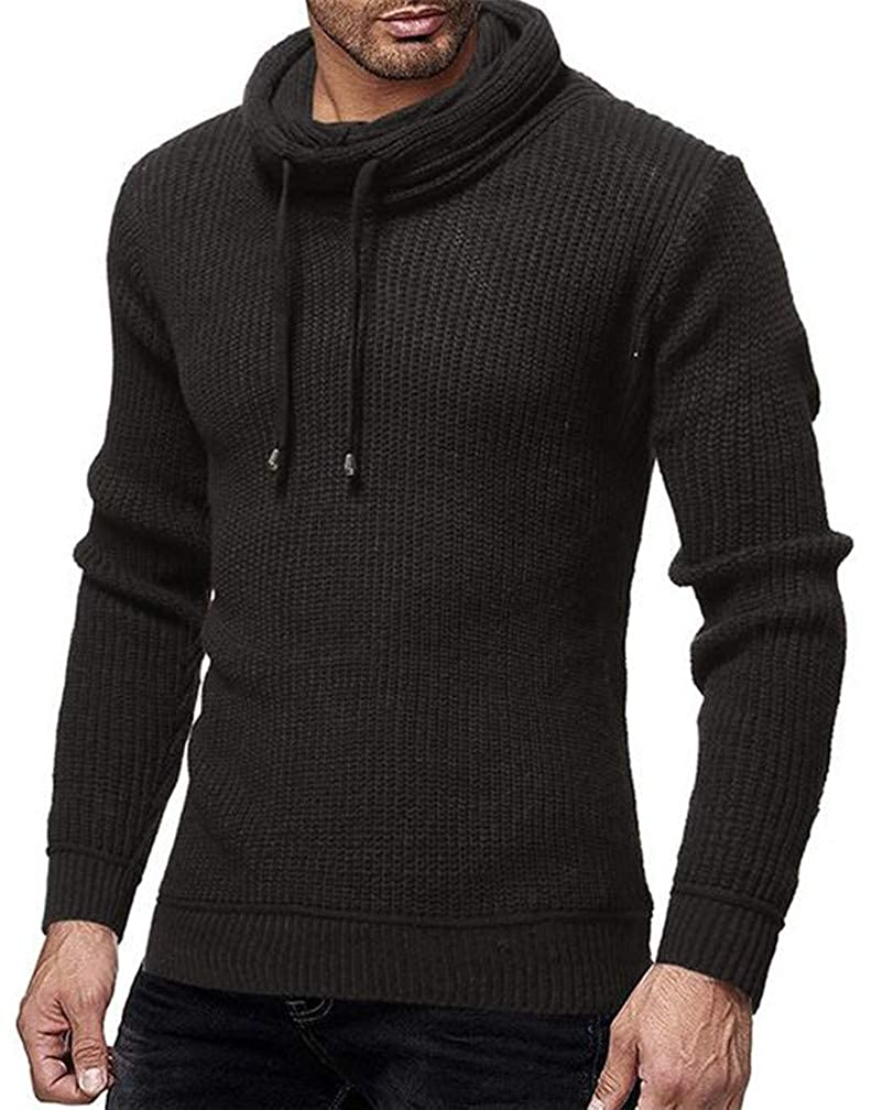 Pcutrone Mens Casual Cowl Neck Drawstring Knitted Pullover Jumper Sweaters