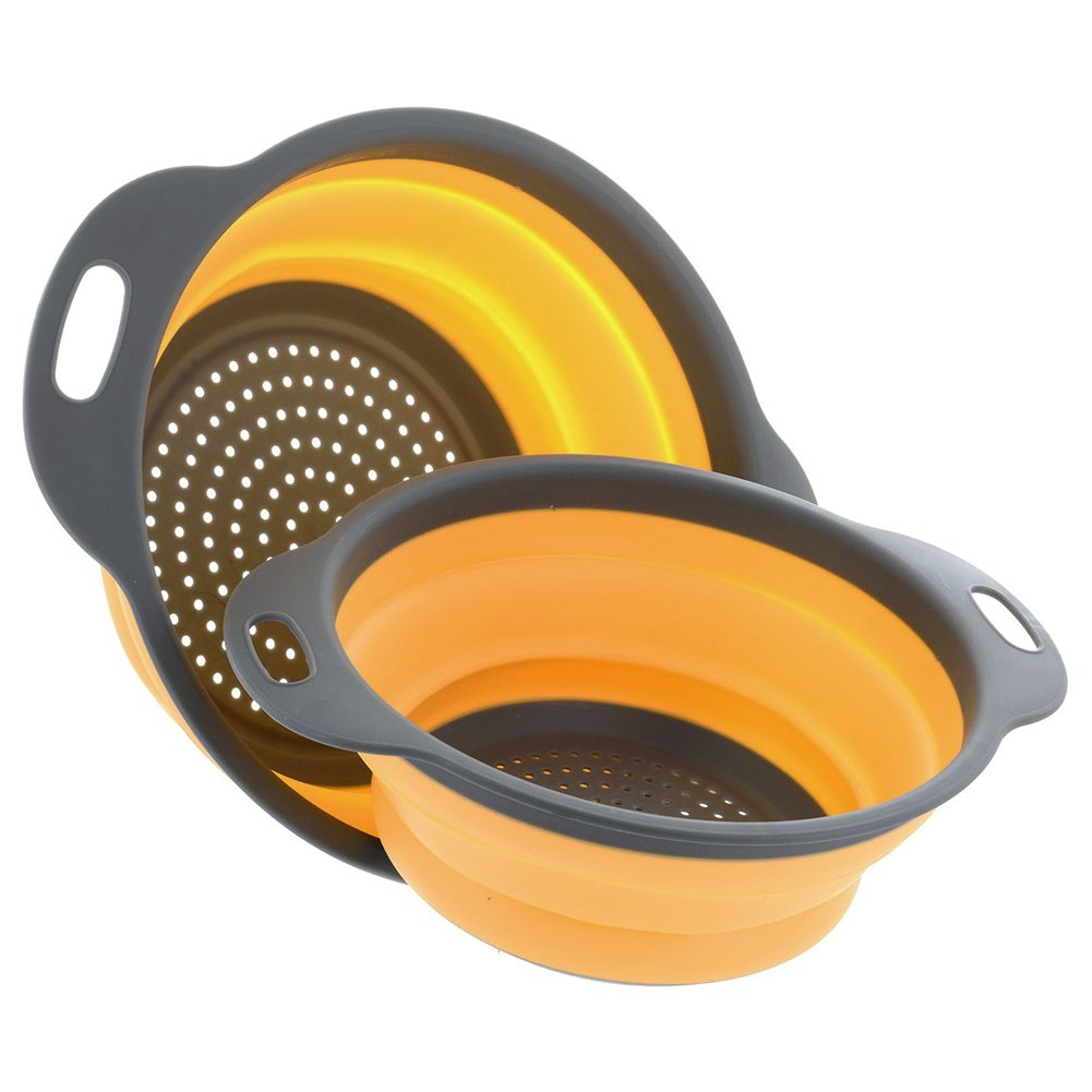 ENKOUS Collapsible Colander 2 sets, Kitchen Foldable Silicone Strainer, Environmentally Friendly Non-Toxic Easy to Clean, 2 Sizes Including 8-inch and 9.5-inch. (Orange)
