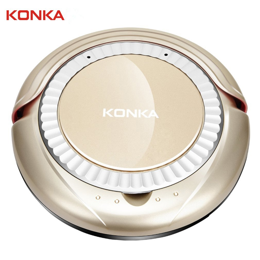 KONKA KC-D1 Automatic Robotic Vacuum Cleaner Sweeper, 220V 25W Intelligent Sweeping Robot with Drop-Sensing Technology and Powerful Suction for Hard Floor and Ultra-Thin Carpet (Gold) by KONKA