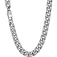 Collar Hombre de Acero Inoxidable Plata Cadena Cubana de Eslabones Cuadrados Ancho 6/10/12MM, 36/46/51/55/61/66/71/76cm…