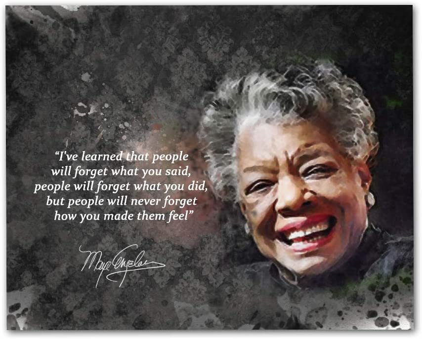 """Maya Angelou Quotes Wall Art, 8""""x10"""" Unframed Art Print - Stunning Inspirational Quotes Room Wall Décor. Great for Teachers, Librarians and Historians"""