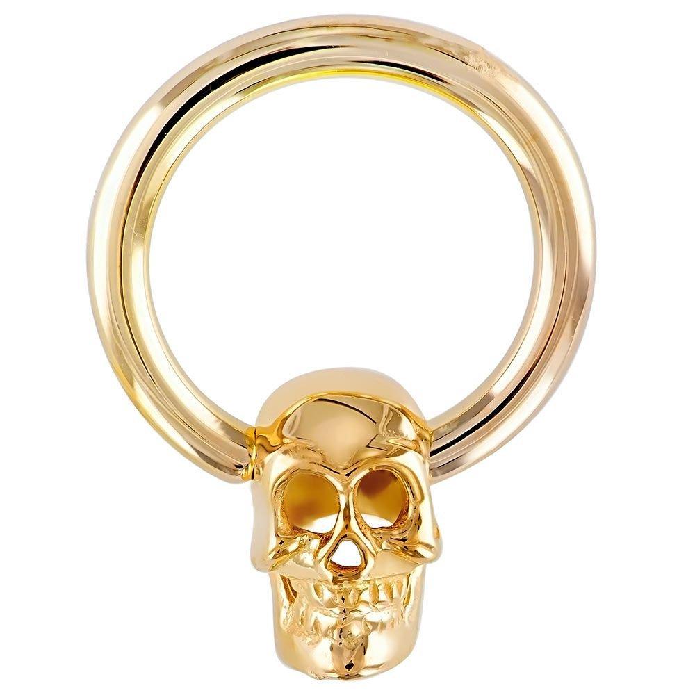 14K Yellow Gold Skull Captive Bead Belly Nipple Eyebrow Lip Ring 14G 3/8''