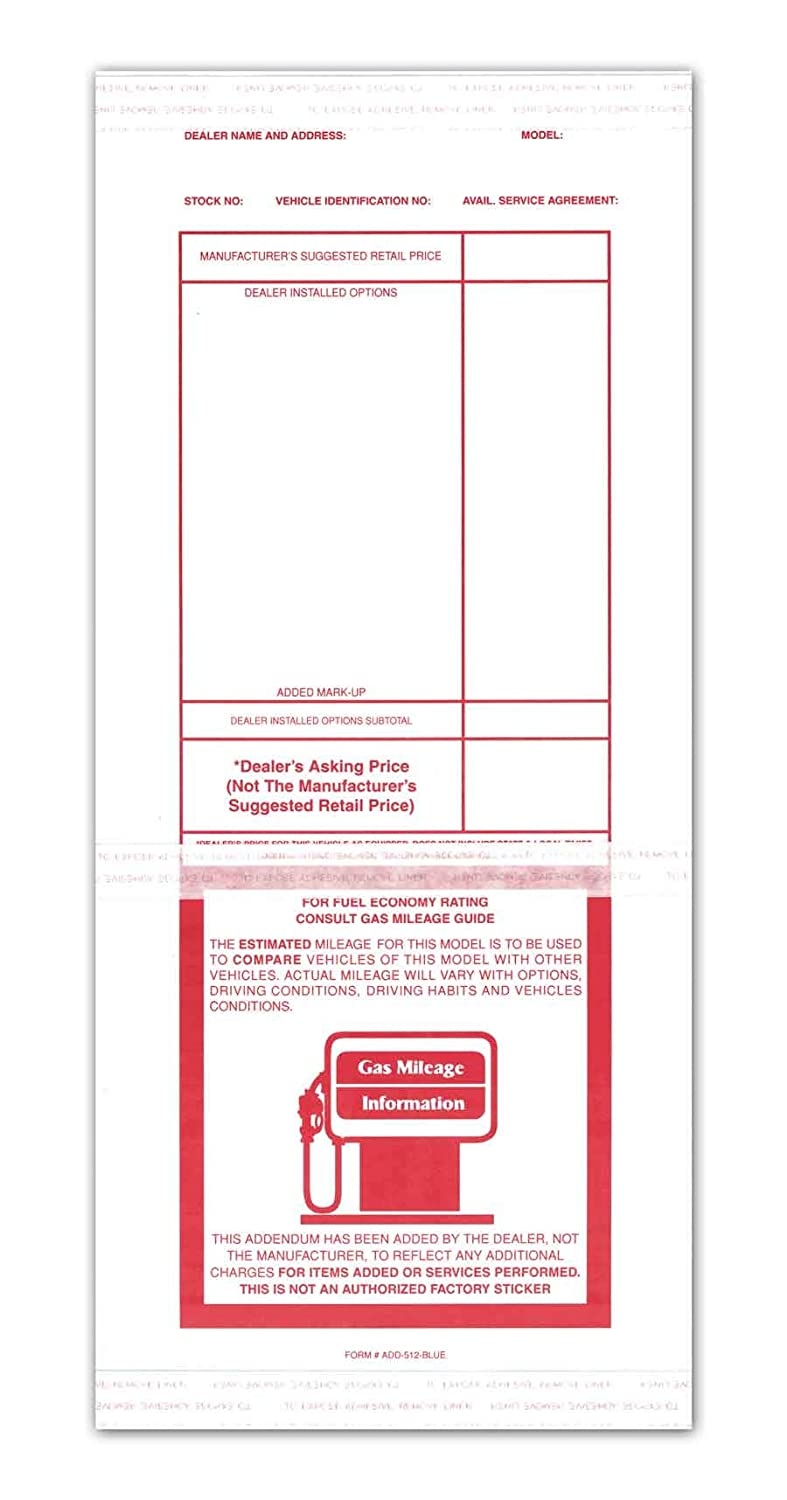with Tape Adhesive Donkey Auto Products Automotive Addendum Window Stickers Red 5.5 x 12.5 100 per Pack