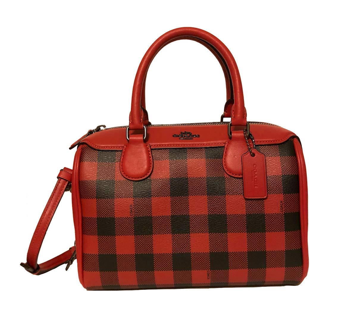 COACH MINI BENNETT SATCHEL IN GINGHAM CANVAS LEATHER F38948 (Ruby Multi)