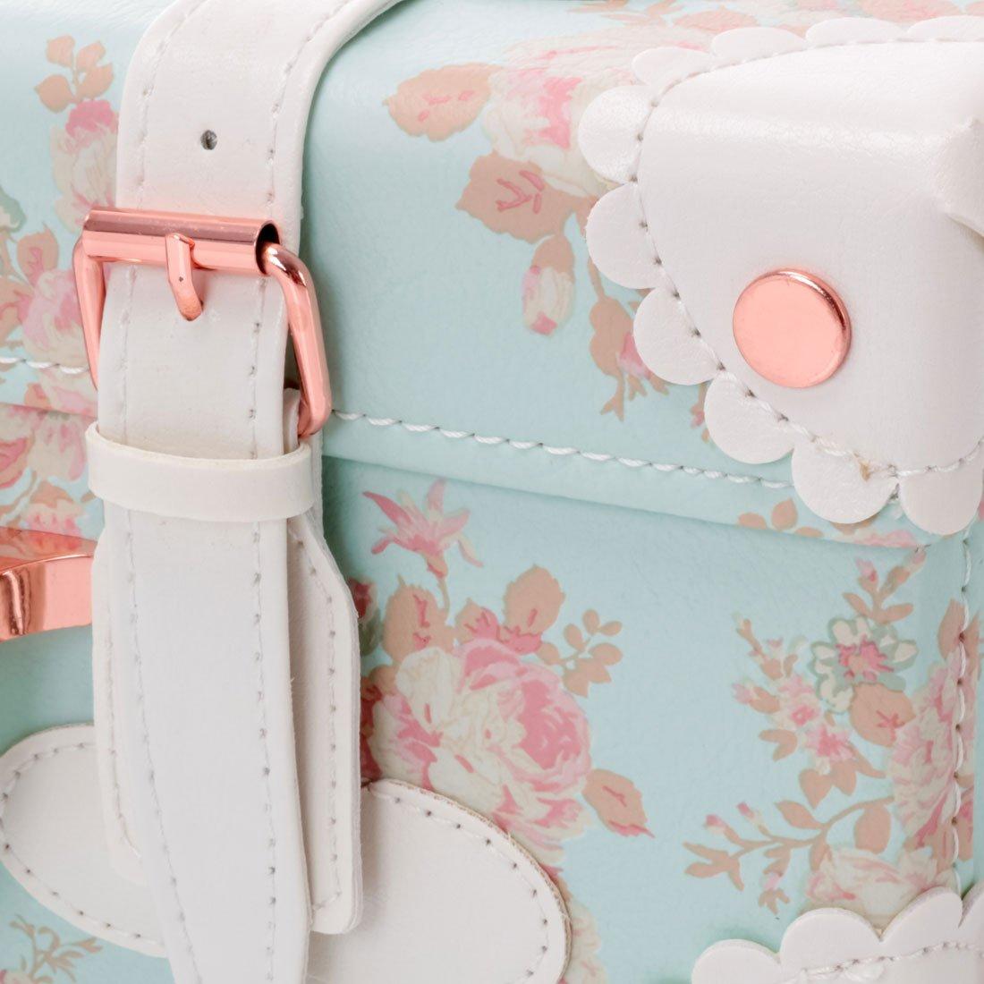 83e00e4479fa 13 Inch Women Pu Leather Small Suitcase Floral Decorative Box with 2 ...