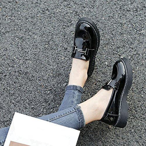 Hoxekle Womens Low Top Piattaforma Tomaia In Stile Britannico Antiscivolo Suola Pu Slip On Scarpe Mocassino Nero
