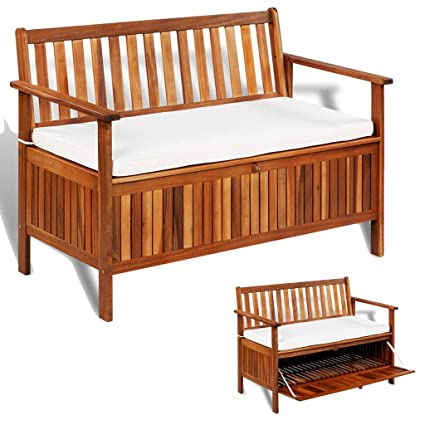 Marvelous Amazon Com Festnight All Weather Outdoor Storage Bench 47 2 Machost Co Dining Chair Design Ideas Machostcouk