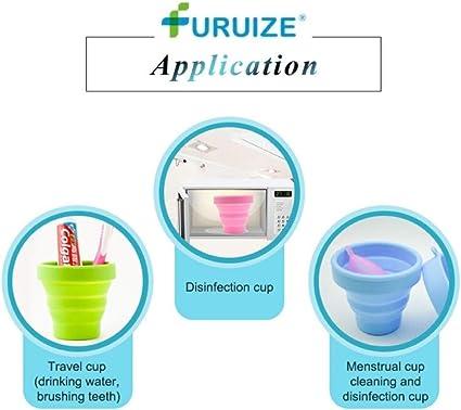 Taza de Esterilización Plegable Furuize. Esterilizador de Copas Menstruales. Silicona de Grado Médico 100% (NEGRO)