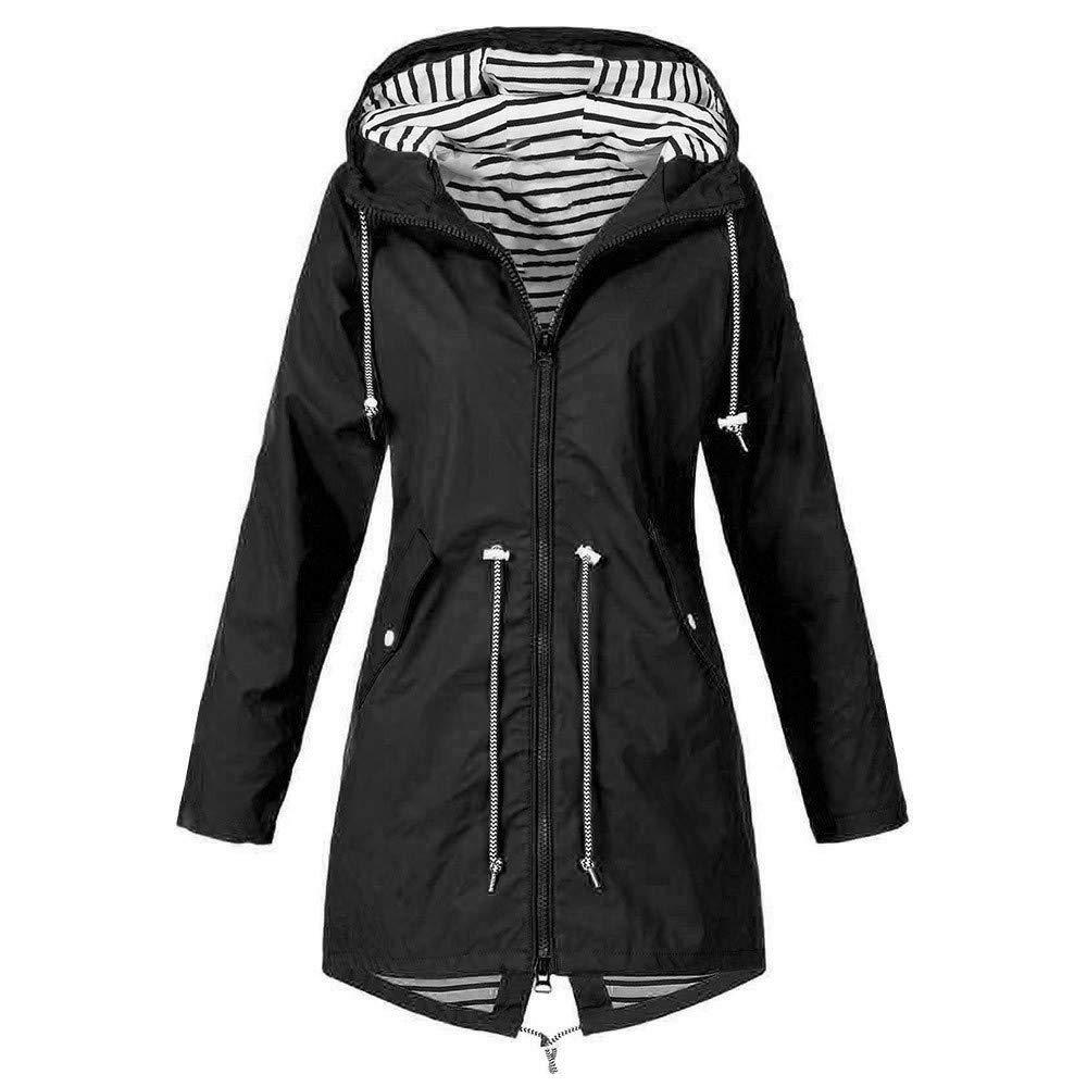 Womens Active Outdoor Waterproof Rain Jacket Plus Size Loose Lightweight Hooded Windproof Coat Raincoat Windbreaker (5X-Large, Black) by Aritone