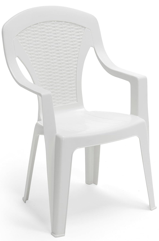 SAVINO FILIPPO SRL Poltrona sedia Arona in dura resina di plastica bianca impilabile con braccioli schienale alto per bar campeggio sagra ristorante giardino