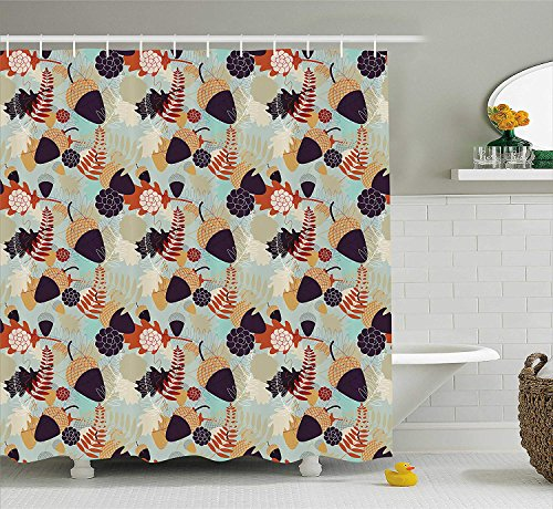 LZHsunni88 Nature Shower Curtain, Abstract Pattern with Oak Tree Leaves and Acorns Flowers Autumn Themed Illustration, Fabric Bathroom Decor Set with Hooks, 84 Inches Extra Long, -