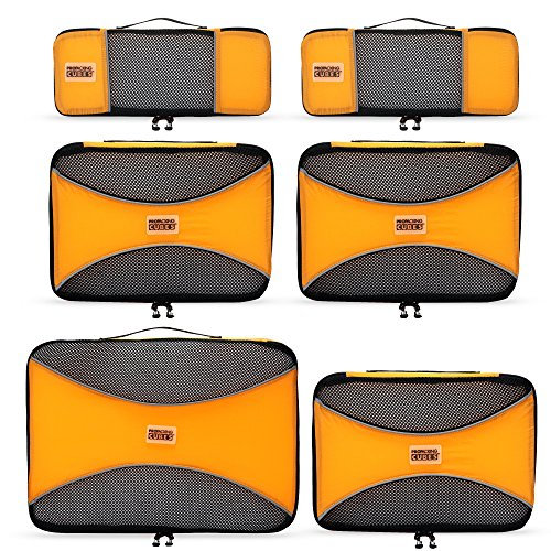 PRO Packing Cubes - 6 Set - Ultimate Travel Packing Cube System for Luggage, Backpacks, Tote Bags & weekend Bags (6 Piece Set, Sunset Orange)