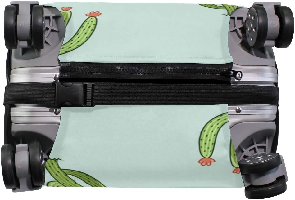 FANTAZIO Green Cactus Pattern Suitcase Protective Cover Luggage Cover