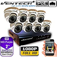 VENTECH POE Security Camera System 8CH NVR 1080P CCTV Kit with 8 Dome Cameras Outdoor (2.0MP) 2TB H-Drive, Easy Remote Smartphone Access,100ft Night Vision