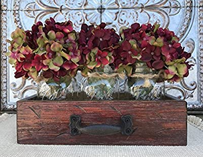Mason Canning JARS in Rustic Wood DRAWER with 3 Ball Pint Jar Distressed Rustic Centerpiece with Hydrangea Daisy flowers (optional) - Antique Barn Red, Antique Off-White, River Rock Blue/Gray
