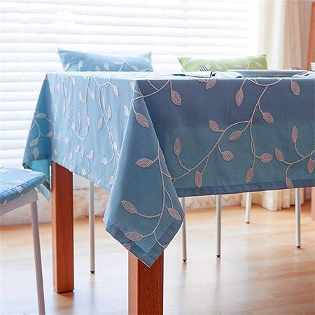 SONGHJ Mantel de algodón Azul Bordado Mesa de Tela ...