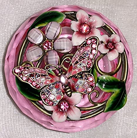 Amazon Com Welforth Jeweled Pink Butterfly Flower Enamel Pink Crystal Round Jewelry Trinket Box Home Kitchen