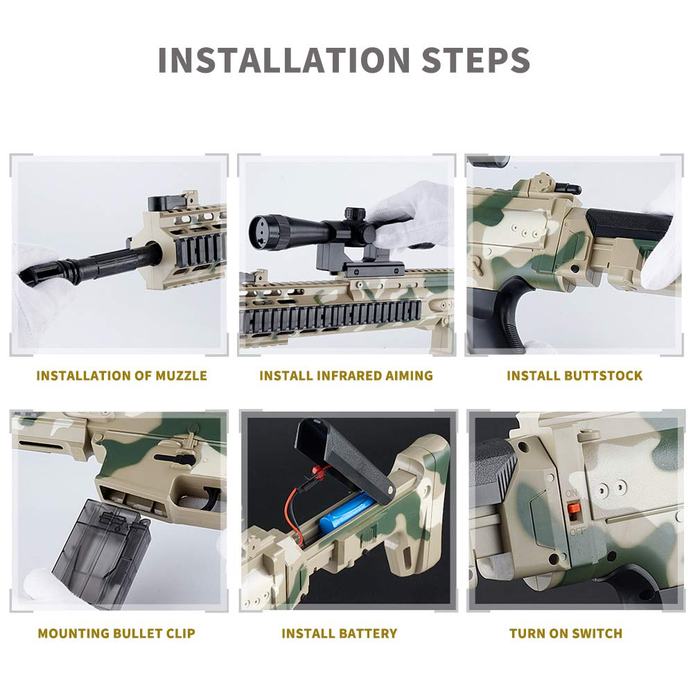 Anstoy Rifle Gel Ball Blaster Water Gun, Electric Gel Ball Shooters with 7-8mm Ammo for Outdoor & Birthday Gift,Next Generation Toy Gun by Anstoy (Image #7)