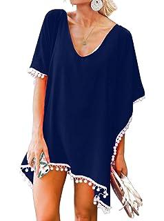 96e5d049828 ReoRia Women s Beach Chiffon Pom Pom Trim Swimwear Cover up