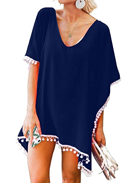 156089af45 ReoRia Women's Chiffon Pom Pom Trim Beachwear Pool Swimsuit Cover Up One  Size Navy Blue at Amazon Women's Clothing store: