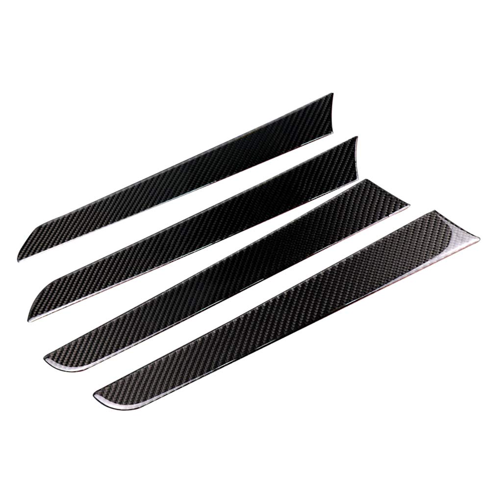 perfk 4PCS Interior Copilot Dashboard Panel Decal Cover Trim Carbon Fiber Black Fits For Audi