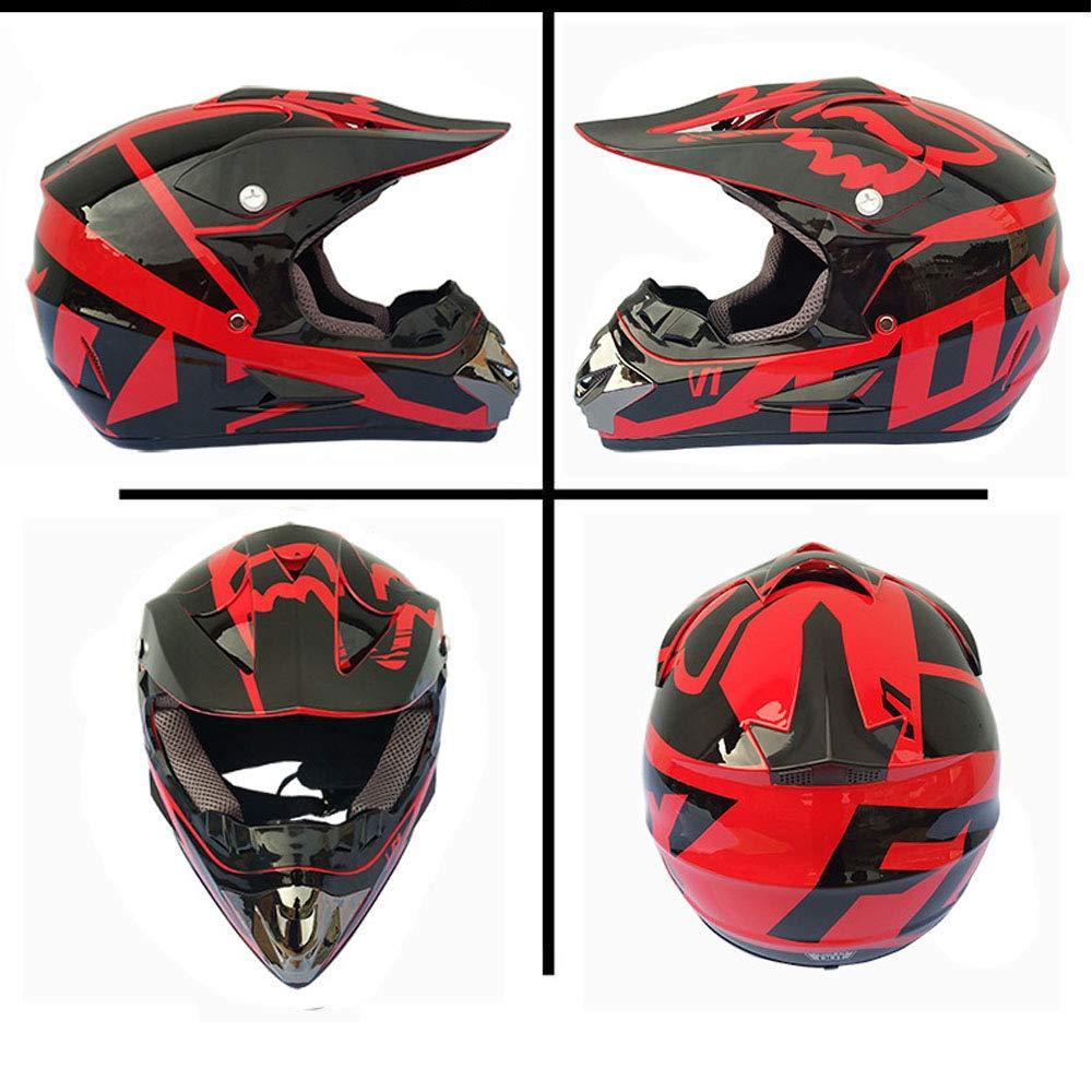 DanNN Motocicleta Plain Dual Sport MX Enduro Motocross Adventure Crash Scooter Casco Regalo Guantes m/áscaras,Black,S