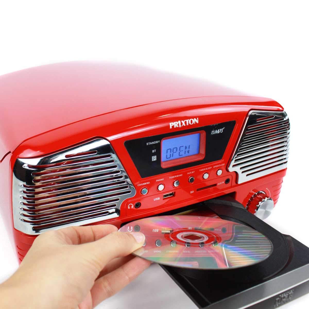 PRIXTON - Tocadiscos de Vinilo Vintage con Altavoces y Bluetooth Integrados / Reproductor de Discos de Vinilo, CDs y mp3 y Convertidor a mp3 / ...
