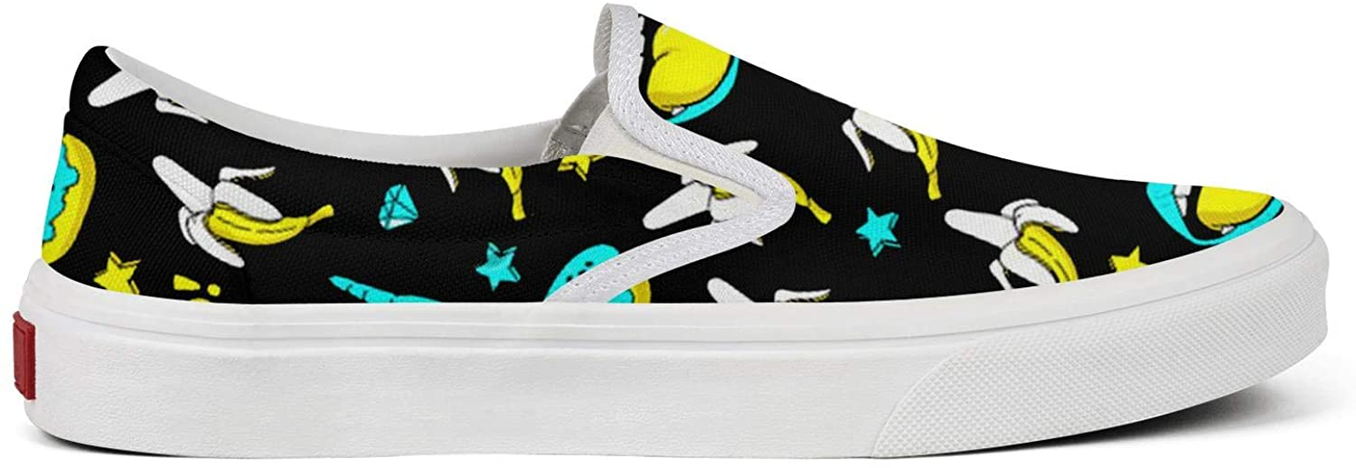 Womens Bananas Speech Bubbles Donuts Stars and Diamonds Neon Pattern Casual Shoes Novelty Canvas Walking Sneakers