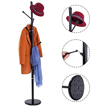 Costway Metal Coat Rack Hat Tree Stand Clothes Holder Umbrella Bag Hanger  Hall Black