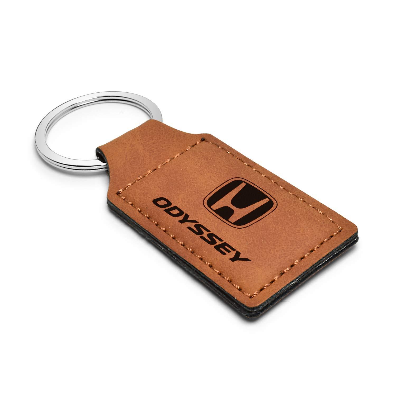iPick Image Honda Odyssey Rectangular Brown Leather Key Chain Key-Ring