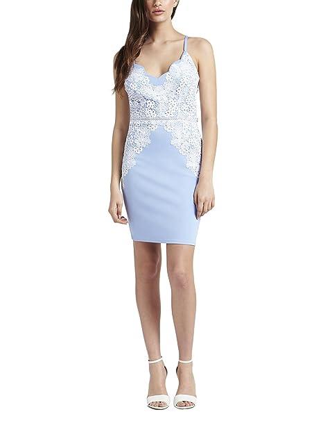b80fad38 Lipsy Womens Scallop Lace Detail Cami Bodycon Dress Blue 0: Amazon ...