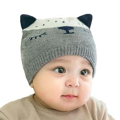 Garçon Fille Bonnet - Hiver Automne Tricot Chaud Chapeau avec des Oreilles  Mignonne pour Enfant Bébé 79c206a8307