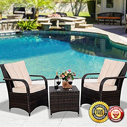 New 3 PCS Outdoor Patio PE Rattan Wicker Furniture Set Seat Cushioned Mix  Brown