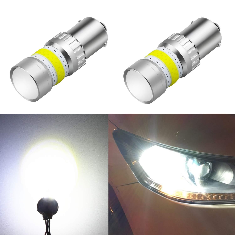 Alla Lighting 2800lm Xtreme Super Bright BA15S 7506 1156 LED Bulbs High Power COB 72-SMD LED 1156 Bulbs, 6000K Xenon White (Set of 2)