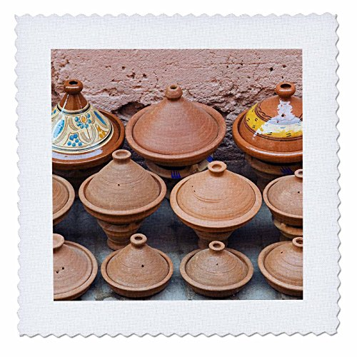(3dRose qs_132015_4 Pottery Pans for Sale, Market, Marrakech, Morocco-Af29 Nto0272-Nico Tondini-Quilt Square, 12 by 12-Inch )