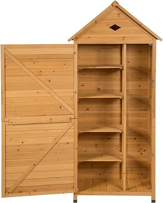 Cobertizo de jardín de madera con techo inclinado y puerta con cierre, armario de almacenamiento de