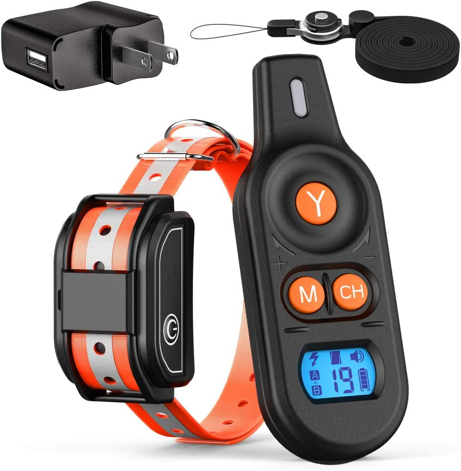 FunniPets Dog Training Collar, 2019 Upgraded 2600FT Remote Shock Collar for Dogs with Beep Vibrate Shock Modes Waterproof Dog Shock Collar for Medium and Large Breed Dogs, Safe Reflective Collar