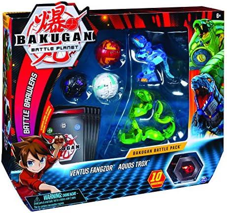 Bakugan 6055957 - Battle Pack mit 5 Bakugan (Ultra Ventus Fangzor, Ultra Aquos Trox, Basic Haos Dragonoid, Basic Darkus Nillious, Basic Pyrus Gorthion)