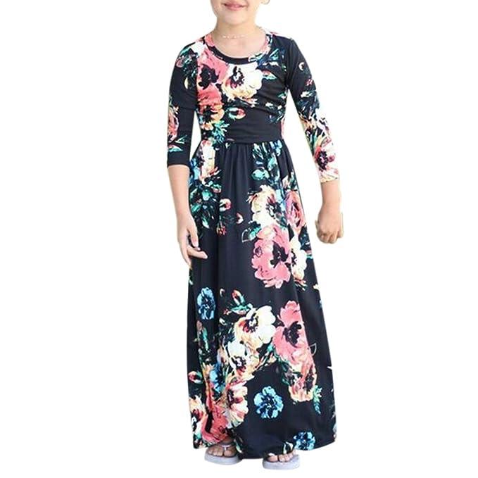 b82f44118e0c5 Liebeye ドレス ガールズ 女の子 コットン 子供服 花柄 長袖 ホリデー 休日 祝日 ロングドレス 肌触り
