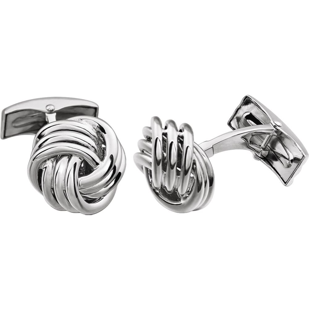 14K White Knot Cuff Links