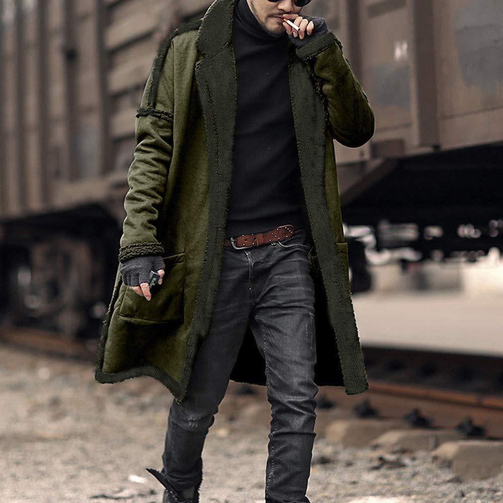 FTXJ Fashion Men Loose Warm Plush Cardigan Long Furry Double-Sided Coat Tops Blouses by FTXJ_mens coats (Image #4)