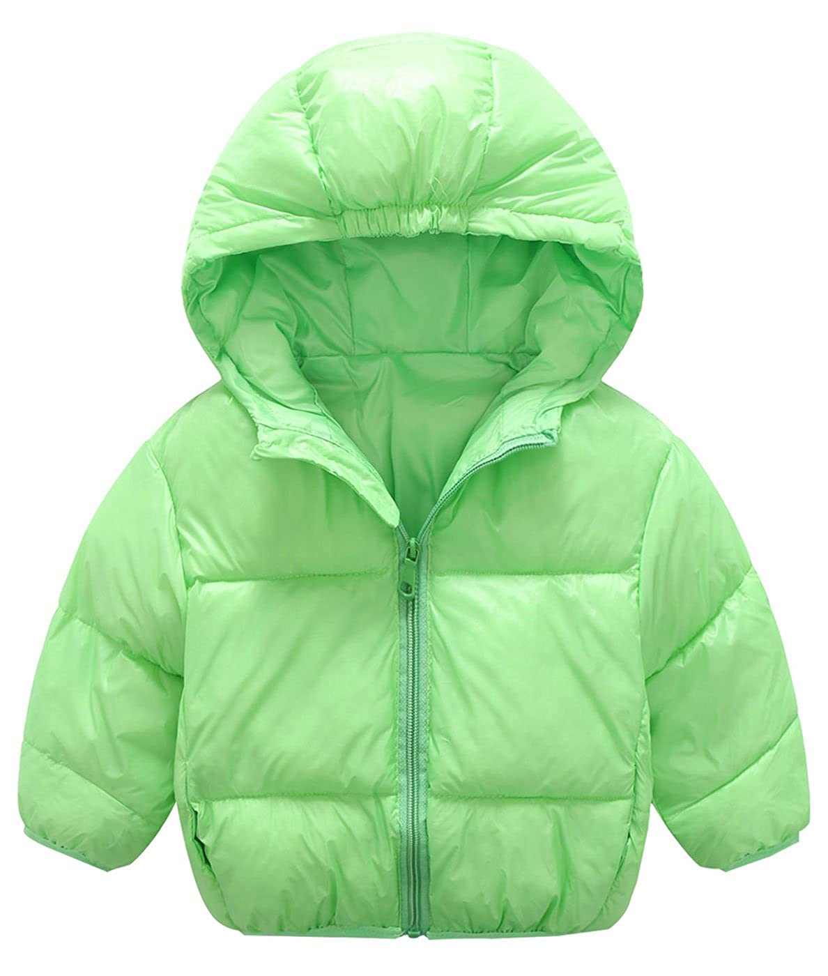 Mengxiaoya Toddler Puffer Jacket Winter Coats Lightweight Down Jacket Cotton Windproof Hoodie Coats Zip-up Green 5-6