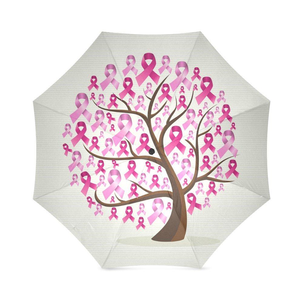 Breast Cancer Awarenessピンクリボンアンチ雨防風旅行ゴルフスポーツ折りたたみ式傘 B0762M2MKW