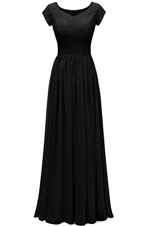 Sunvary Modest V Neckline Empire Waist Chiffon Bridesmaid Gown Evening Prom Dresses Size 2-Black