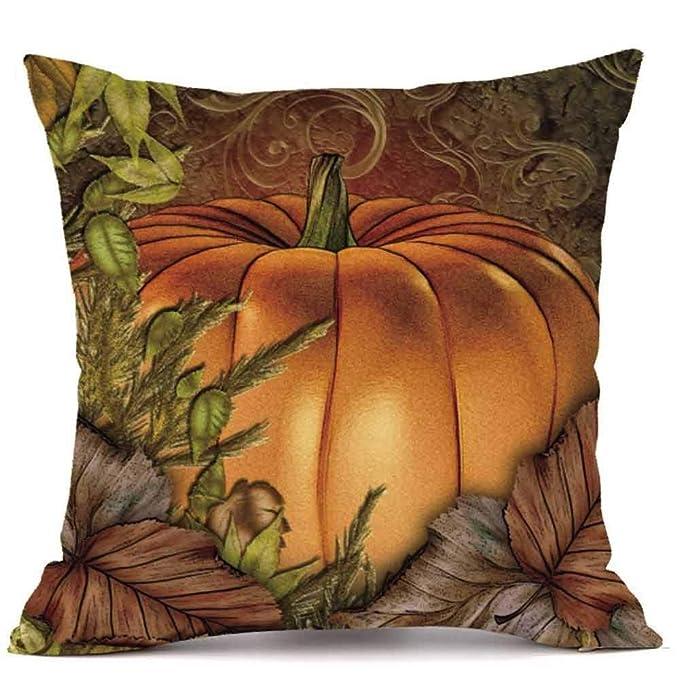 Amazon.com: Funda de cojín de calabaza para Halloween, 18.0 ...