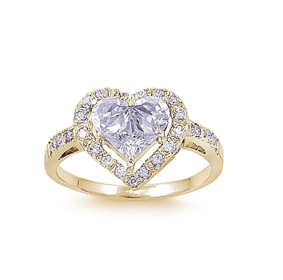 CloseoutWarehouse Cubic Zirconia Designer Inspired Heart Center Ring Yellow Gold-Tone Plated Sterling Silver Size 13