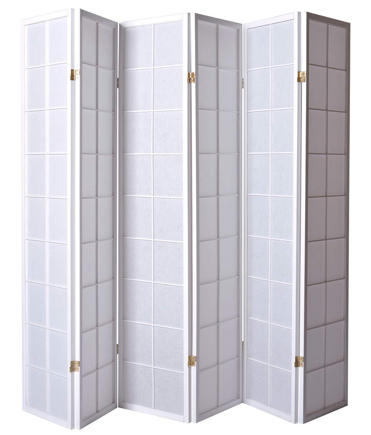 PEGANE Paravento giapponesi grandi vetri bosco bianco e carta di riso - 6 pannelli - Dim: H 178, 6 cm