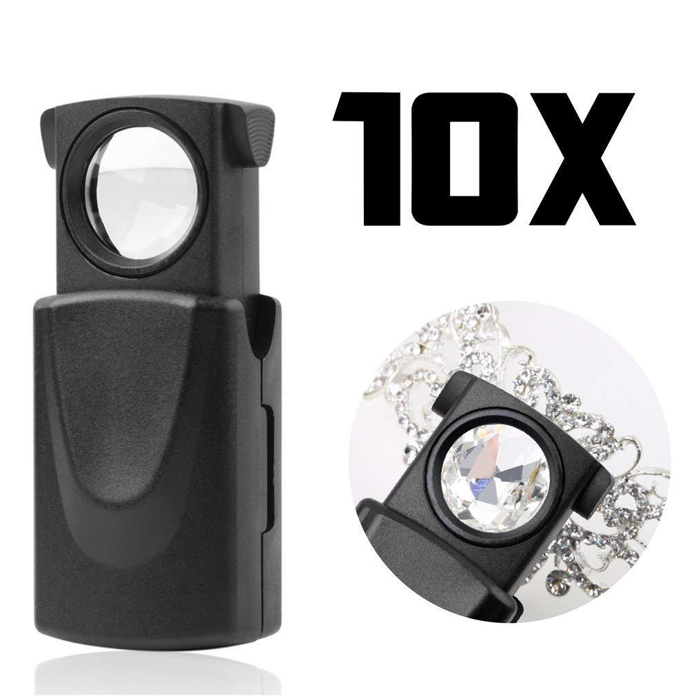 Kitechildhood Pliable 30X 21mm LED Fold Eye Bijoux Loupe Loupe Microscope Lentille en Verre Noir