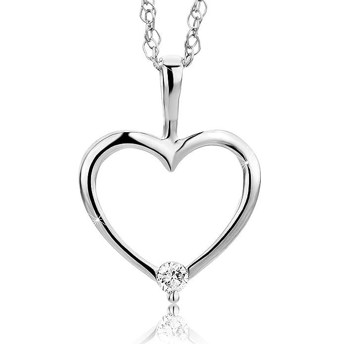 09d27a1b5257 Orovi colgante de mujer corazón 0.02 Quilates diamantes en oro blanco 9  kilates ley 375 Cadena 45 cm  Amazon.es  Joyería