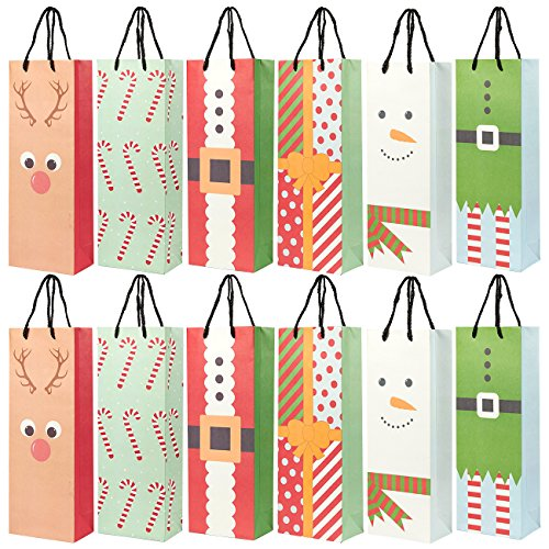24-Pack Christmas Gift Wine Bags - Kraft Paper Bags, Paper Bags with Handles for Shopping, Christmas Gifts, 6 Assorted Designs - 15.3 x 3.2 x 5.5 Inches